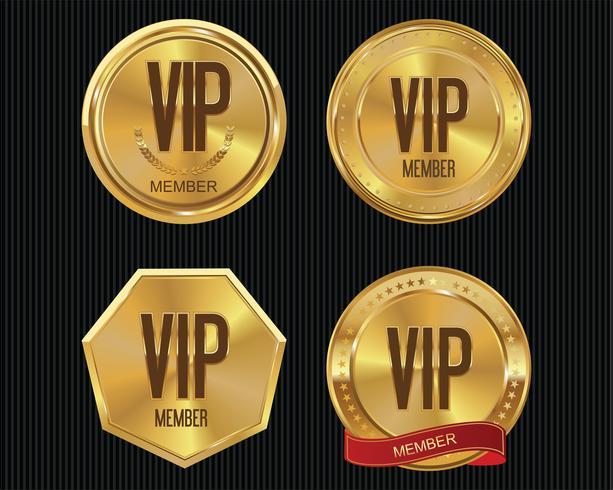Collection de badges d'or des membres Vip vecteur
