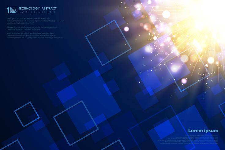 Modèle carré de technologie de décoration flare lumière futuriste or. illustration vectorielle eps10 vecteur