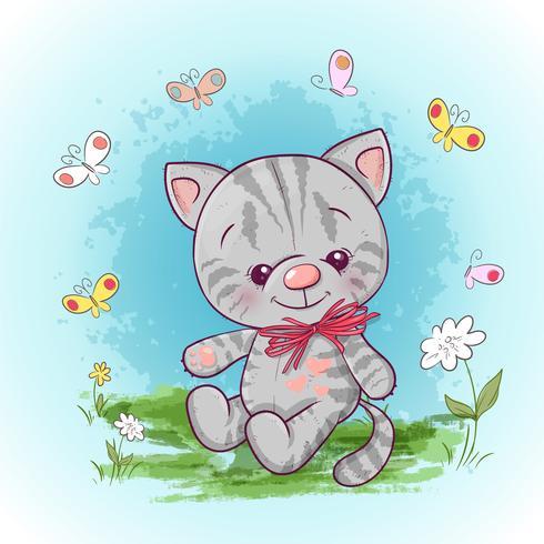 Illustration d'un mignon petit chat avec des fleurs et des papillons. Impression pour vêtements ou chambre d'enfants vecteur