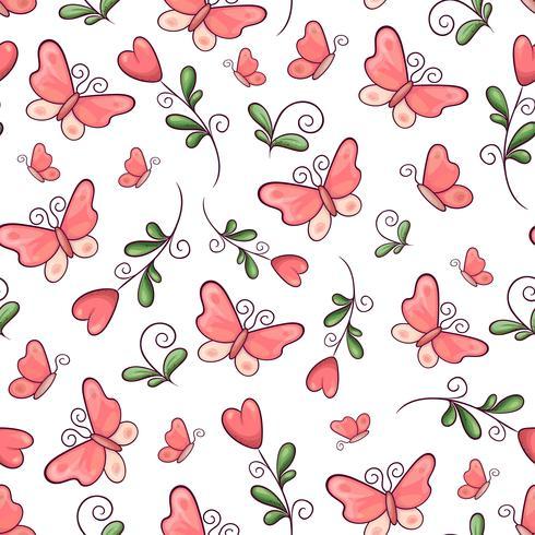 Fleurs et papillons de modèle sans couture. Dessin à main levée. Illustration vectorielle vecteur