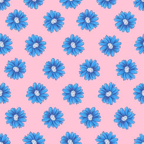 Modèle sans couture de fleurs sauvages. Main, dessin d'illustration vectorielle vecteur