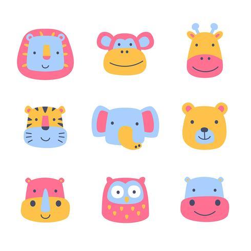 Ensemble de visages de dessins animés d'animaux sauvages vecteur