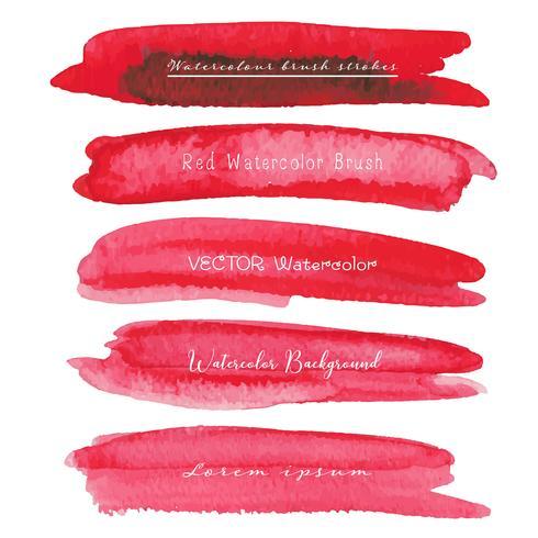 Ensemble de fond aquarelle rouge, logo de trait de pinceau, illustration vectorielle. vecteur