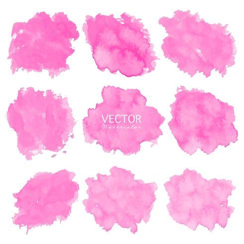 Ensemble de fond aquarelle rose, logo de trait de pinceau, illustration vectorielle. vecteur