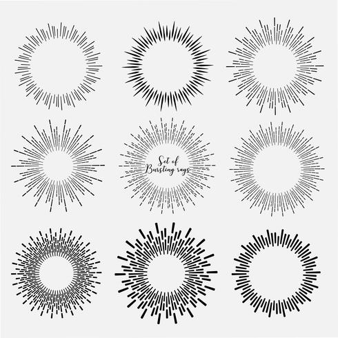 Ensemble de style sunburst isolé sur fond blanc, illustration vectorielle de rayons de rupture. vecteur