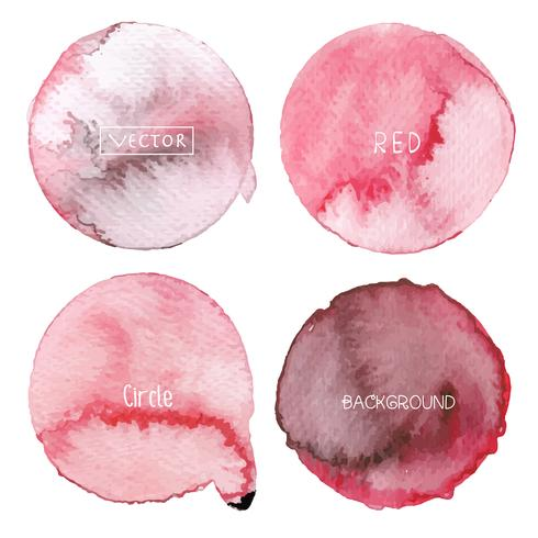 Cercle aquarelle rouge sur fond blanc, logo aquarelle, illustration vectorielle. vecteur
