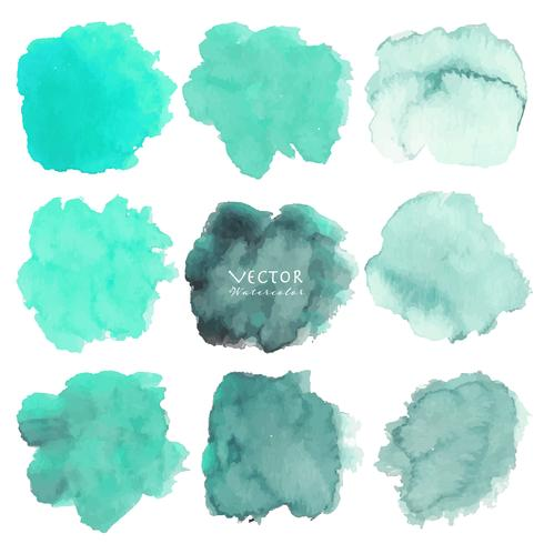Ensemble d'aquarelle de menthe sur fond blanc, aquarelle de pinceau, illustration vectorielle. vecteur