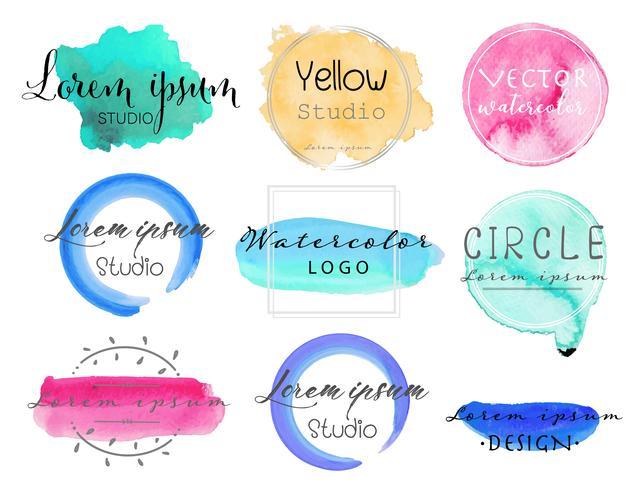 Jeu de logo aquarelle, ensemble de conception de logo féminin, illustration vectorielle coloré. vecteur