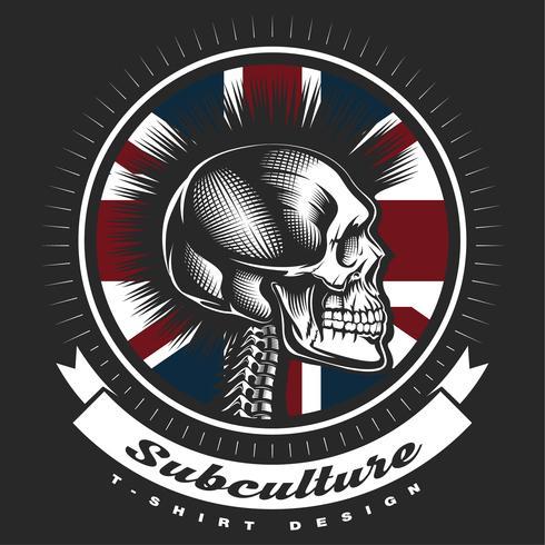 Crâne emblème vintage punk. vecteur