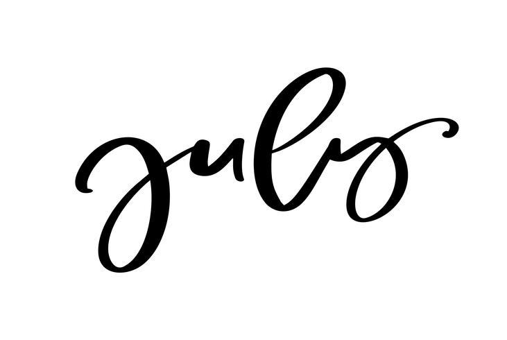Texte de lettrage typographie dessiné main juillet. Isolé sur le fond blanc. Calligraphie amusante pour les cartes de vœux et les invitations ou le calendrier de conception d'impression de t-shirt vecteur