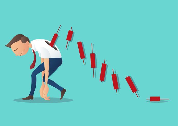 Illustration vectorielle de Business concept d'un homme d'affaires de dépression avec graphique en chandeliers, concept de marché boursier baissier vecteur