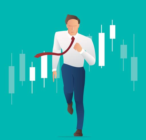 Homme d'affaires en cours d'exécution avec fond de graphique en chandelier, concept de marché boursier, illustration vectorielle vecteur