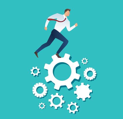 homme d'affaires, courant, machine, pignon, roue, projection, travail, vie, action, stratégie vecteur