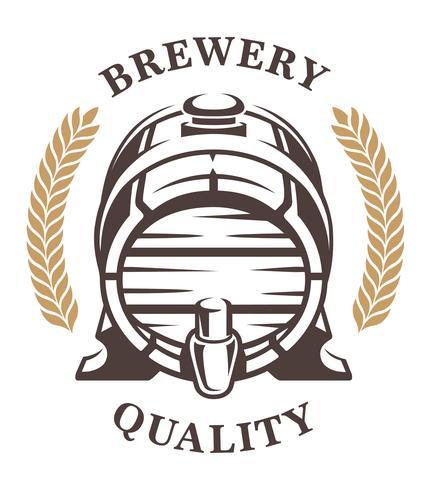 Vintage barel de l'emblème de la bière (frontal) vecteur