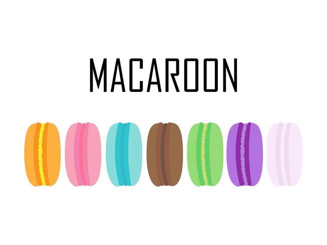 Ensemble de macarons colorés isolés sur fond blanc vecteur