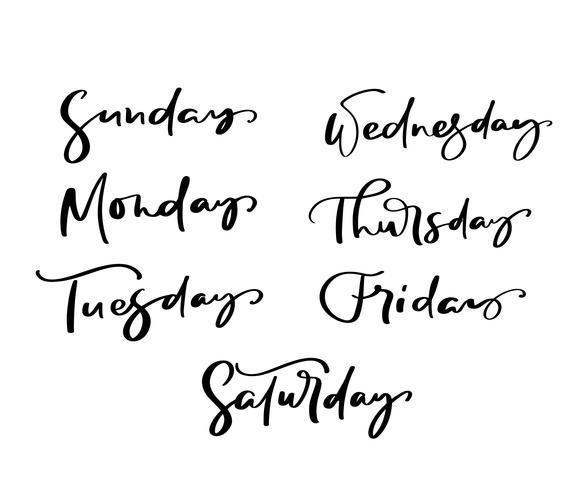 Lettrage décoratif dessiné à la main des jours de la semaine avec des lettres différentes isolé sur fond blanc pour calendrier, agenda, agenda, décoration, autocollant, affiche vecteur