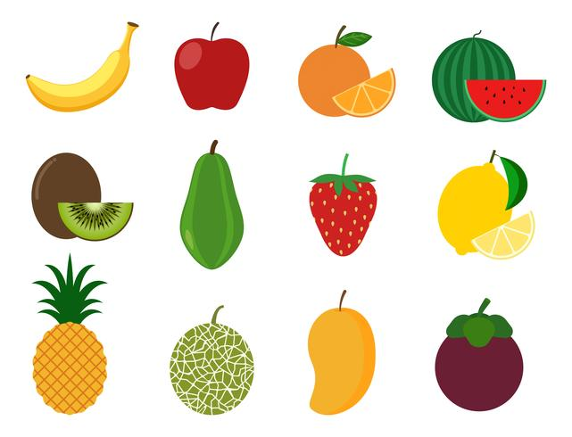 Collection de jeu de vecteur de fruits sains - illustration vectorielle