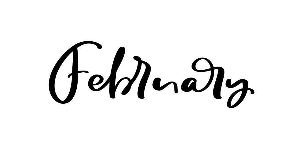 Février citation romantique vecteur d'inspiration encre à main levée pour la Saint Valentin, mariage, réservez la carte de date. Calligraphie manuscrite isolée sur fond blanc