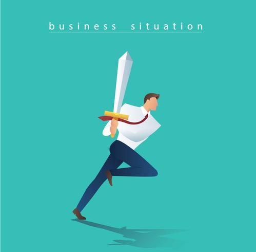 homme d'affaires avec l'épée en cours d'exécution à succès, illustration vectorielle de business concept situation vecteur