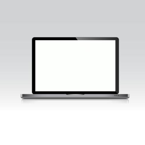 Ordinateur portable avec écran blanc isolé sur fond blanc, conception Vectot vecteur