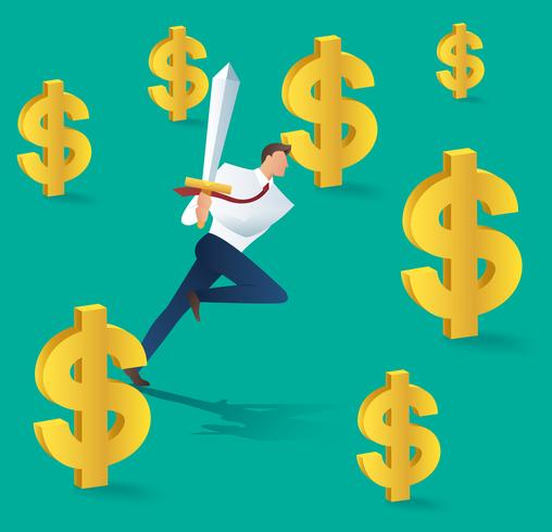 homme d'affaires avec l'épée en cours d'exécution et l'icône du dollar, concept d'entreprise de succès. Illustration vectorielle vecteur