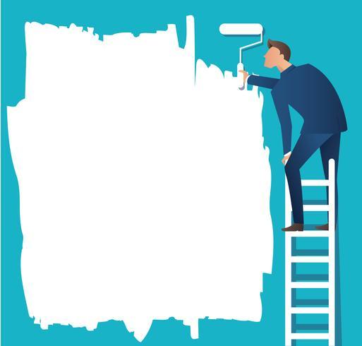 un homme sur une échelle peignant avec un rouleau à peinture vecteur