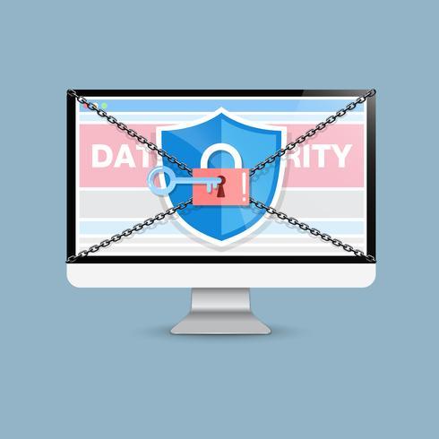 Le concept est la sécurité des données. Shield on Computer Desktop protège les données sensibles. La sécurité sur Internet. Illustration vectorielle vecteur