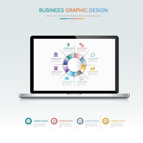 Ordinateur portable avec graphique d'entreprise à l'écran, illustration de conception de vecteur plat et 3d pour la bannière Web ou présentation utilisée