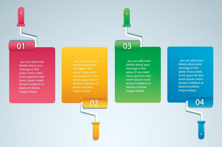 rouleau de peinture avec un espace pour le texte info graphique Modèle vectoriel avec 4 options. Peut être utilisé pour le Web, diagramme, graphique, présentation, graphique, rapport, infographie étape par étape