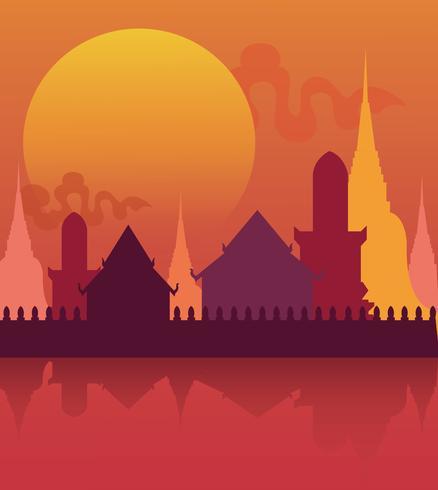 Illustration vectorielle d'affiche Thaïlande temple vecteur
