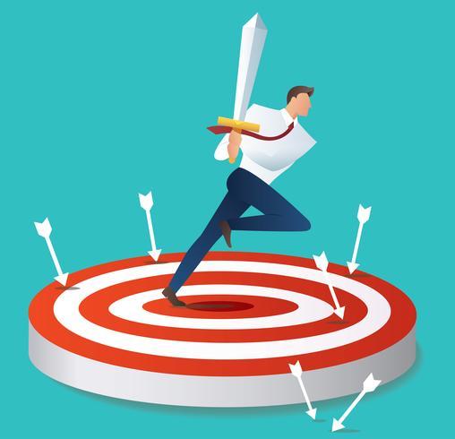 homme d'affaires tenant l'épée sur l'illustration vectorielle cible tir à l'arc vecteur