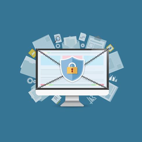Concept est un centre de données de sécurité. Shield sur Computer Desktop protège les données sensibles. La sécurité sur Internet. Illustration vectorielle vecteur