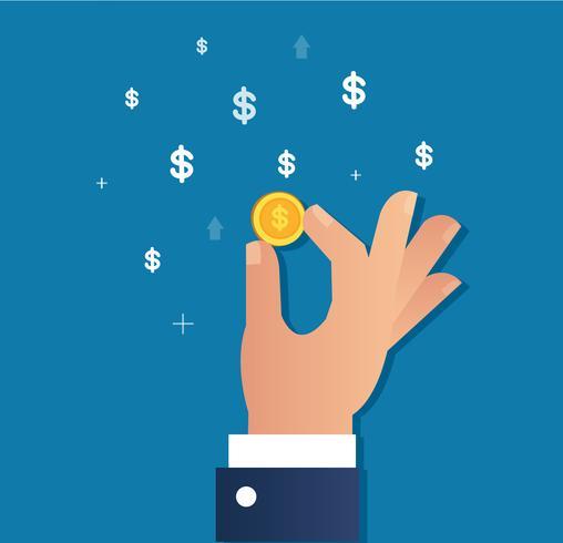 main tenant la pièce d'or et le vecteur icône Dollar, concept d'entreprise