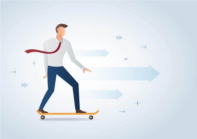 homme d'affaires sur l'illustration vectorielle de skateboard et de fond vecteur