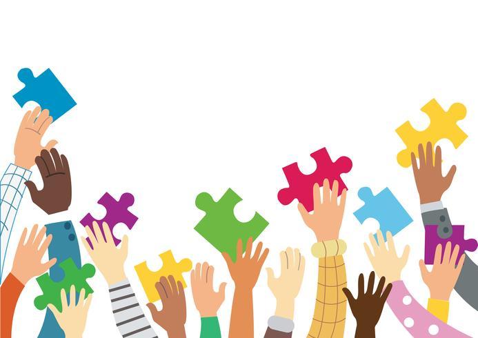 beaucoup de mains tenant des pièces de puzzle coloré fond illustration vectorielle vecteur