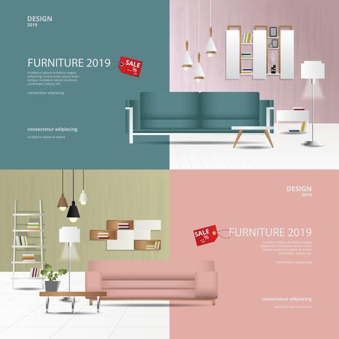 2 bannières meubles vente conception modèle illustration vectorielle vecteur