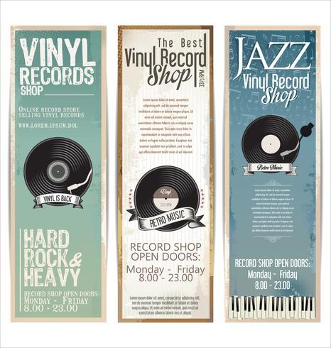 Bannière de magasin de disques vinyle rétro grunge vecteur
