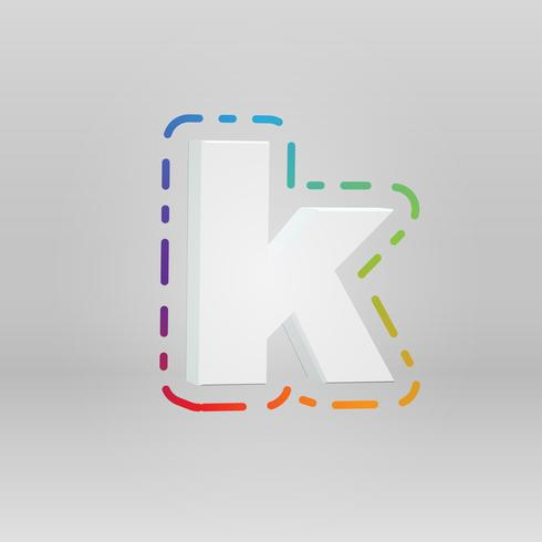 Personnage 3D d'un ensemble de polices avec un fond coloré, illustration vectorielle vecteur