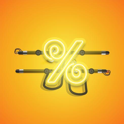 Caractère de néon jaune brillant réaliste, illustration vectorielle vecteur