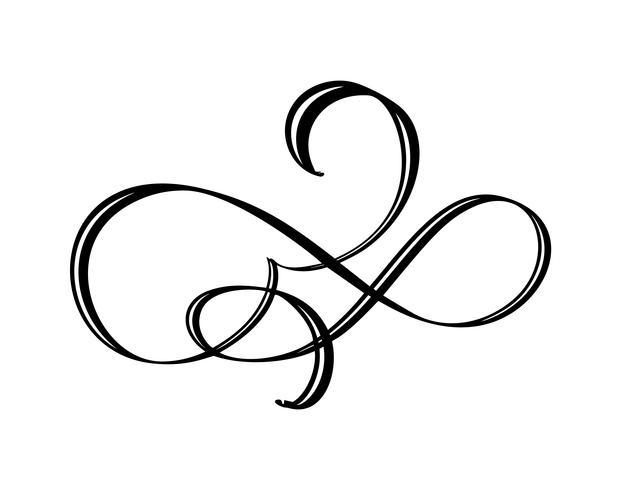 Élément de calligraphie florale de vecteur s'épanouir. Séparateur dessiné à la main pour la décoration de la page et ornement tourbillon illustration design cadre. Silhouette décorative pour cartes de mariage et invitations