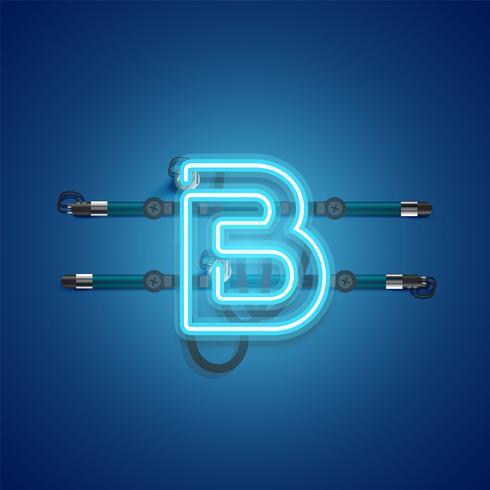 Caractère de néon bleu rougeoyant réaliste, illustration vectorielle vecteur