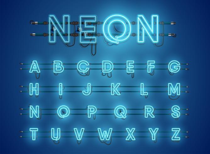 Jeu de caractères néon bleu brillant réaliste vecteur