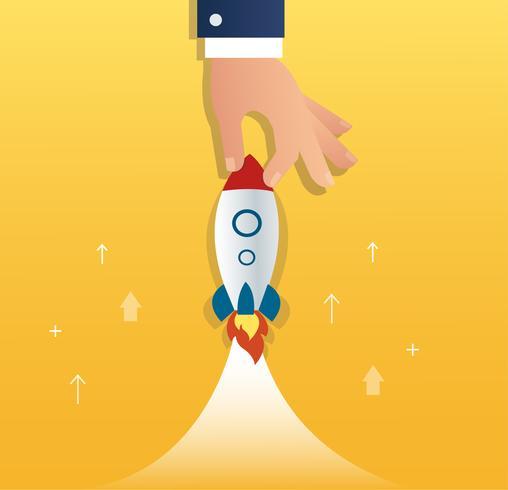 grande main tenant une fusée, concept d'entreprise de démarrage vecteur