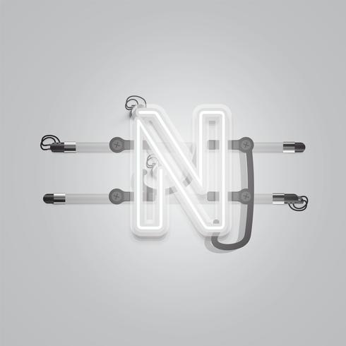Caractère de néon gris rougeoyant réaliste, illustration vectorielle vecteur