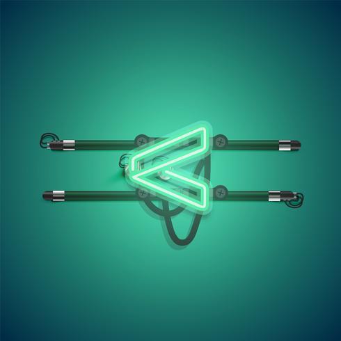 Caractère de néon vert rougeoyant réaliste, illustration vectorielle vecteur