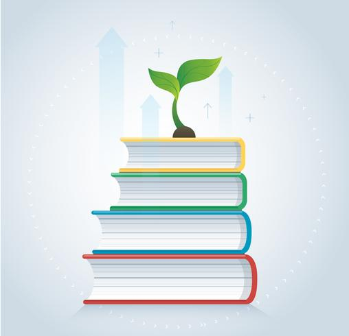 croissance des plantes sur l'illustration vectorielle de livres icône design, concepts de l'éducation vecteur