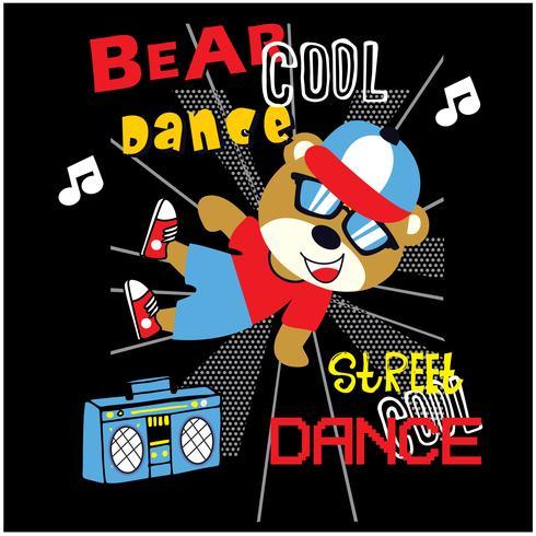 Caractère ours hip-hop vecteur