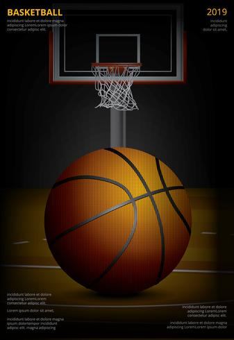 Illustration vectorielle de basket-ball affiche publicité vecteur