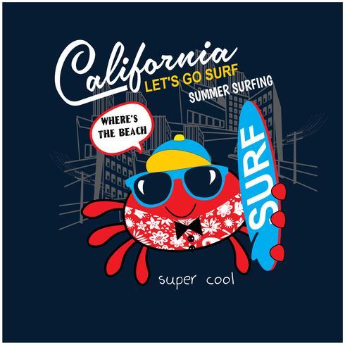 Surfer crabe mignon, impression de vecteur pour les enfants portent dans des couleurs personnalisées, effet grunge en calque séparé.