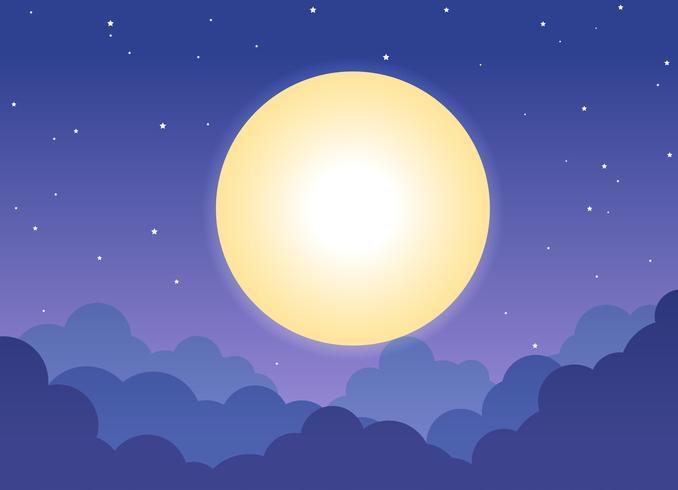 Fond de ciel nuageux nuit avec la pleine lune et les étoiles brillantes - illustration vectorielle vecteur